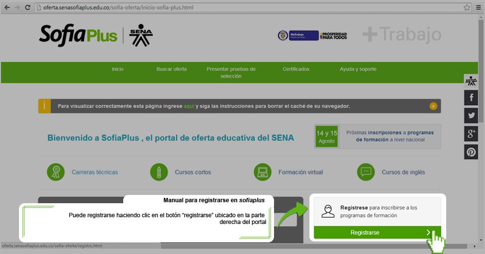 Registro en Sena Sofia plus