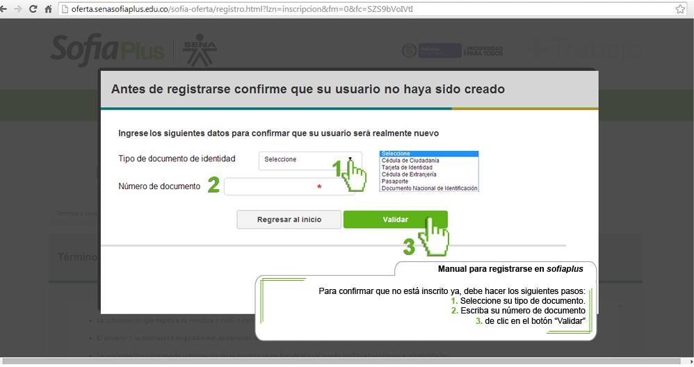 formulario de registro sofia plus