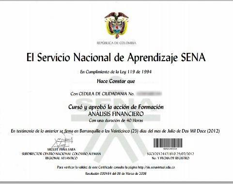 sena virtual certificado
